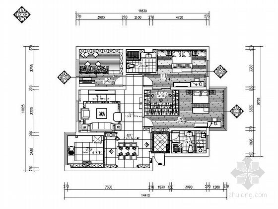 [绍兴]临江景观住宅两居室现代风格装修图(含效果图)