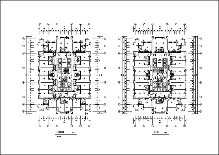现代高层宾馆酒店建筑设计施工图CAD-现代高层建筑设计平面图2