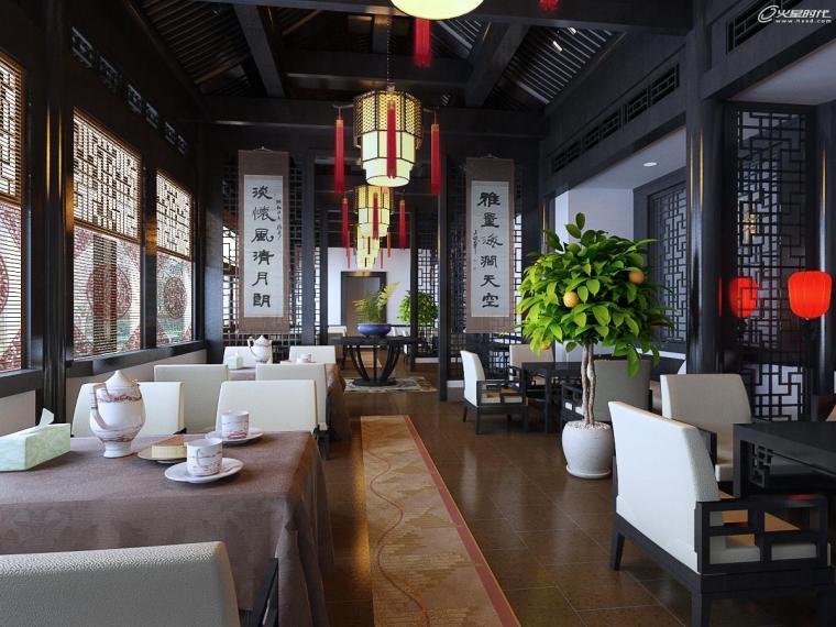 中式餐厅渲染教程