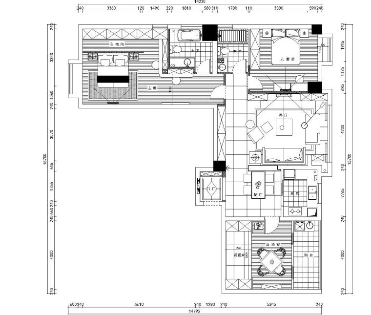 奥山世纪梦想空间三居室装修设计施工图纸(全套)