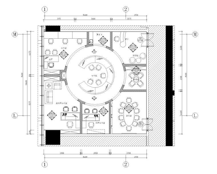 [广东]现代--南海万达广场创意办公户型样板间施工图+效果图