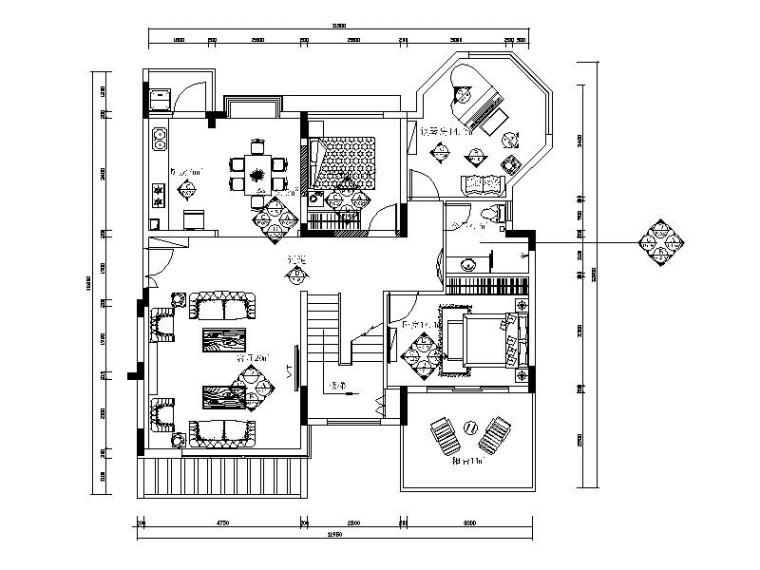 [广东]西欧风格两居室样板房设计施工图(含效果图)