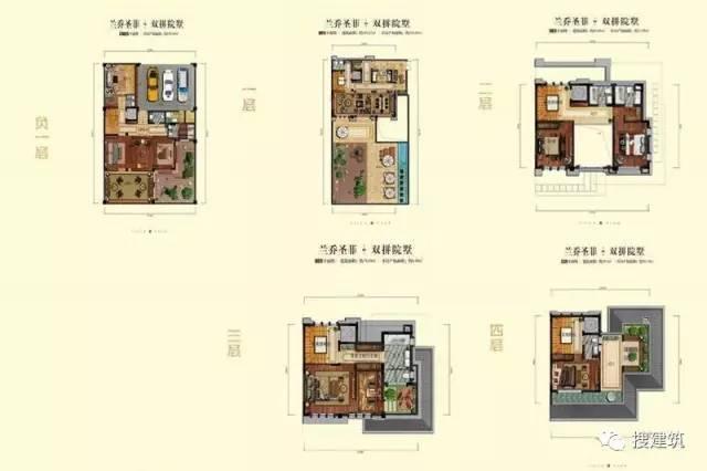 万科罕见的270㎡5房6卫双拼户型,庭院高达228㎡_4
