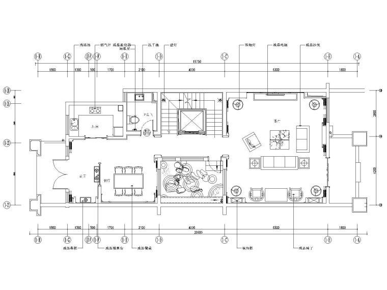 新中式风格别墅样板房装修施工图(附效果图)