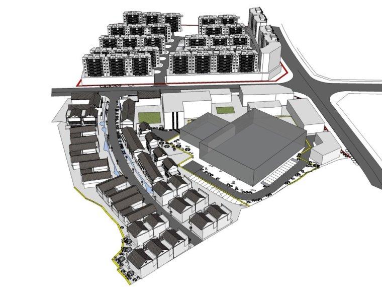 商业街东方新古典2层中式规划模型设计(su模型)