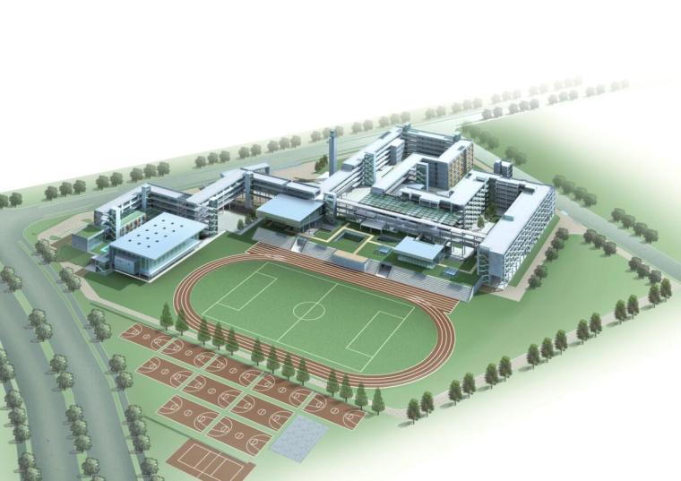 [浙江]杭州某市场中学建筑设计方案文本(效果图+SU+CAD)-鸟瞰图