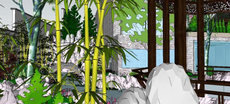 座凳•座椅,景墙•围墙,水景庭院设计su模型_4