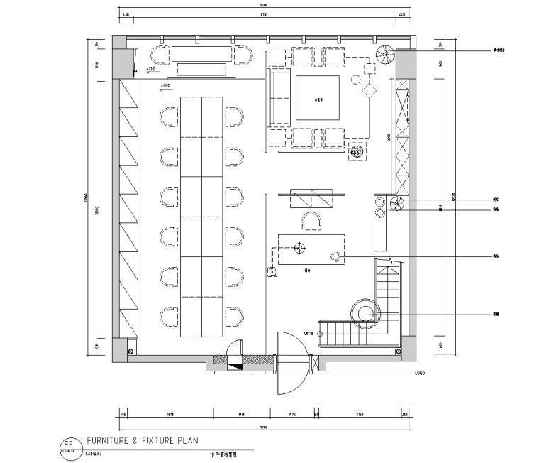 [新疆]时代广场办公室装修施工图
