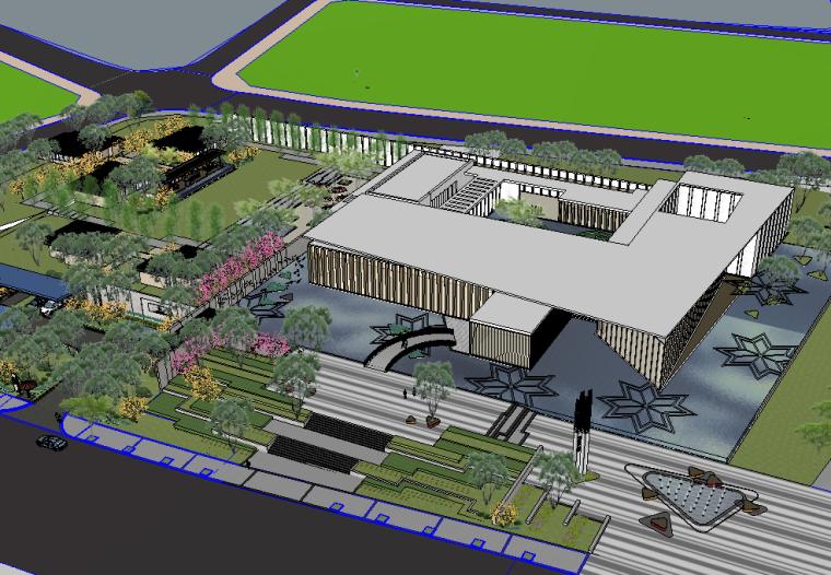 新中式风格中交中央公园景观模型设计