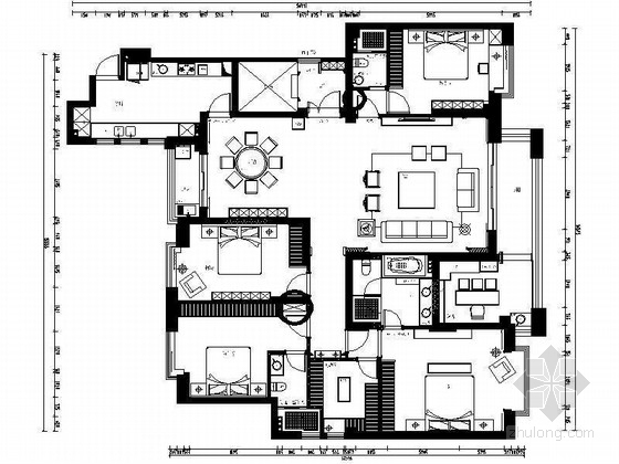 2016首发四室两厅欧式复古室内装修施工图
