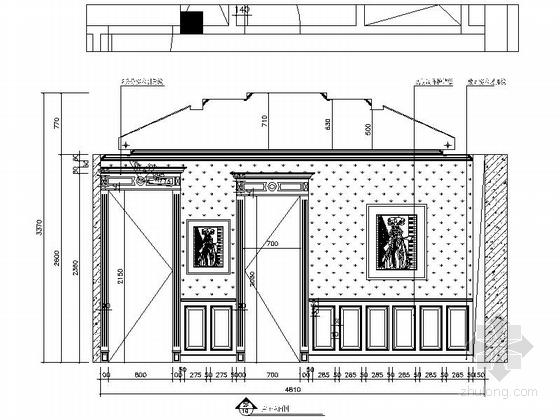 [上海]鸟语花香古典欧式风格独栋别墅样板间装修施工图(含高清实景)主卧立面图