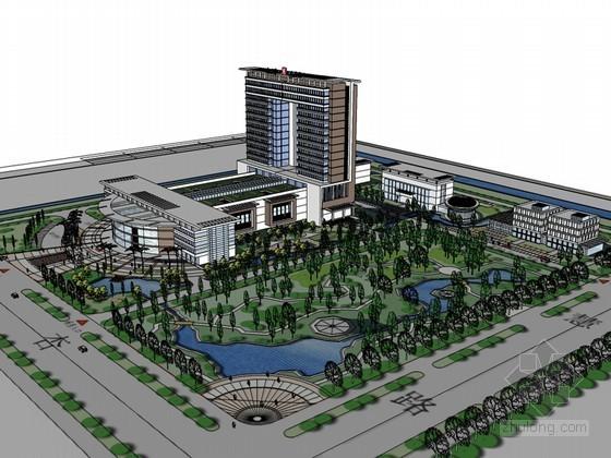 现代医院规划SketchUp模型下载