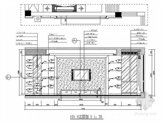 [绍兴]黄金地带时尚现代跃层公寓装修设计施工图客厅立面图