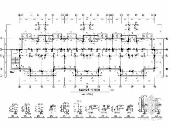 [山东]七层异形柱框架结构住宅楼结构施工图(地下三层 储藏室)