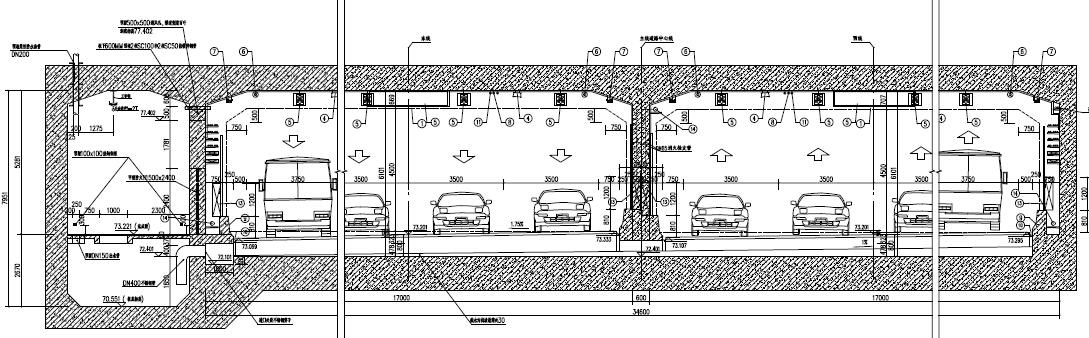 [河南]双向八车道单孔双孔矩形隧道地下道路及地下附属建筑设施设计图948张_10