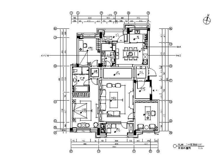 [大连]4套法式、美式风格样板间设计施工图(含效果图)