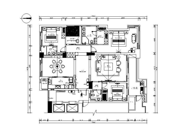 美式图纸样板房cad施工图(含效果图)看防雷接地怎么风格图片