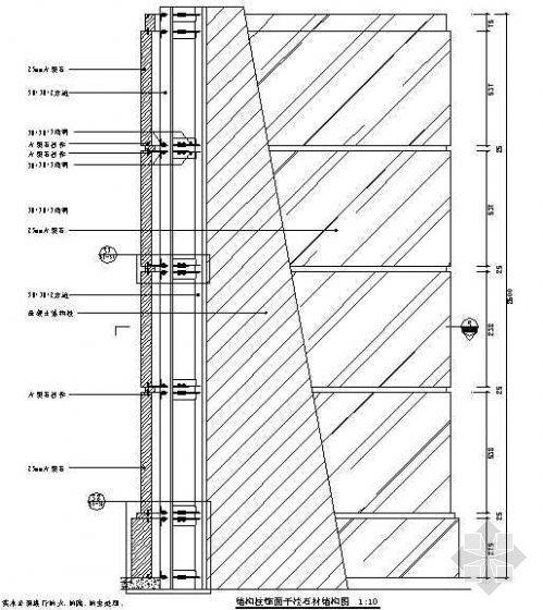 结构柱饰面干挂石材结构图