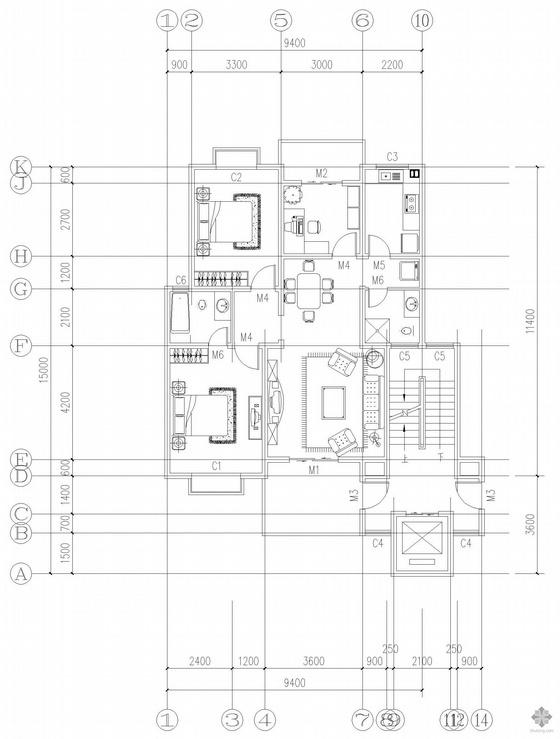 板式高层一梯两户户型图(114/114)