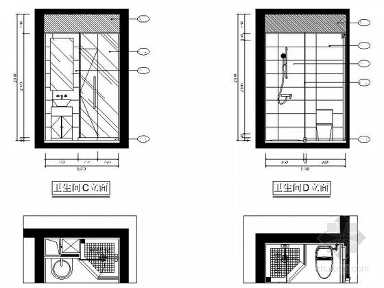 自然现代风格两居室样板房装修图(含效果)卫生间立面图