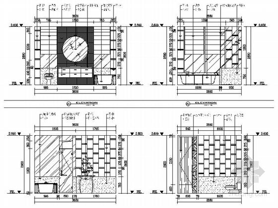 [苏州]水岸社区典雅新中式三层别墅装修施工图卫生间立面图