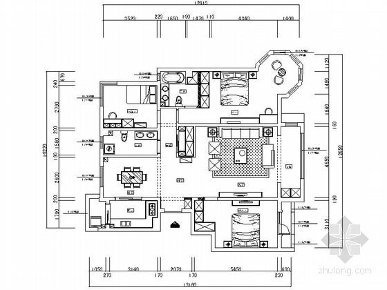 [银川]独具个性高层区混搭风格三居室样板间装修施工图(含效果及3Dmax模型)