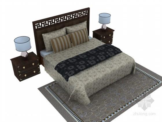 新中式双人床3D模型下载