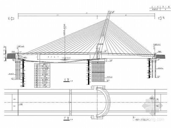 主跨110m双跨独斜拱塔双索面斜拉桥施工图(83张 设计美观)