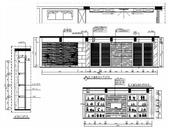 [郑州]北环商圈区典雅新中式三层别墅装修施工图休息厅立面图