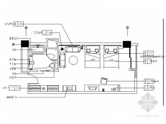 国际会议中心现代简约客房室内装修施工图(含效果)