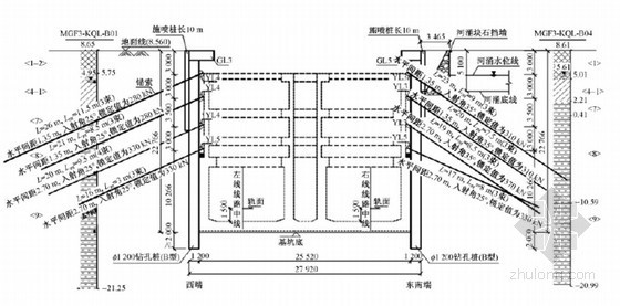 地铁轨排井深基坑桩锚支护与施工监测