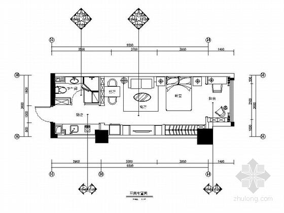 [大连]欧式小资生活迷你公寓CAD施工图(含效果图)