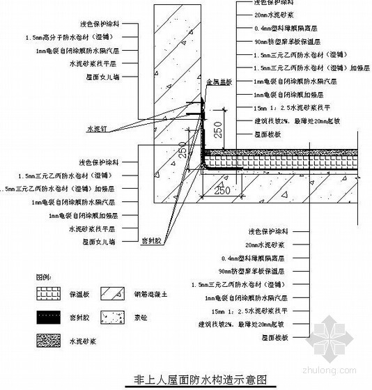 非上人屋面防水构造示意图(三元乙丙防水卷材)
