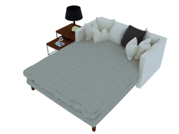 舒适简约双人床3D模型下载