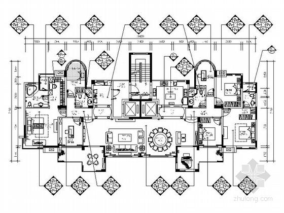 精品豪华欧式风格六居室样板间室内装修施工图(含效果)
