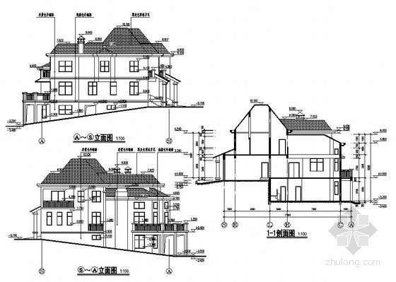某2层框架坡地别墅建筑结构设计图
