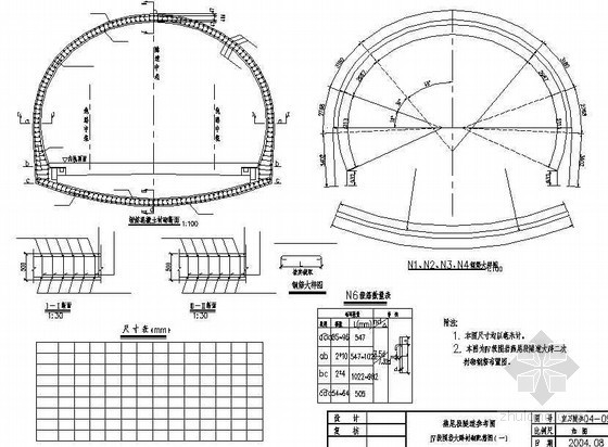 异型隧道(燕尾式衬砌)围岩大跨衬砌配筋节点详图设计