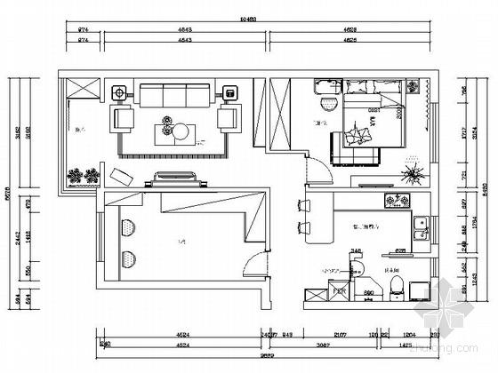 某温馨现代两室一厅设计方案图(含效果)