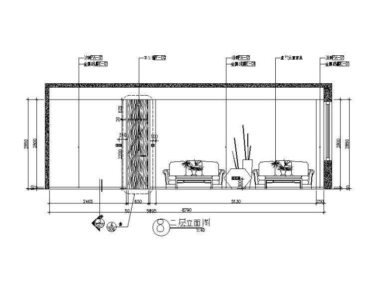 别墅楼办公室设计CAD施工图(含效果图)_4