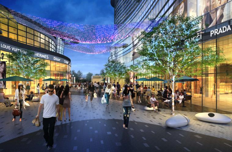 [山东]滨水主题生态通廊现代商业购物街区绿地景观设计方案