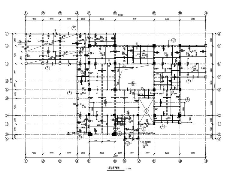 框架结构办公楼设计平面图资料下载-四层框架结构办公楼结构施工图(CAD、12张)