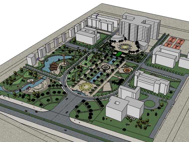 市政商业办公景观SU模型