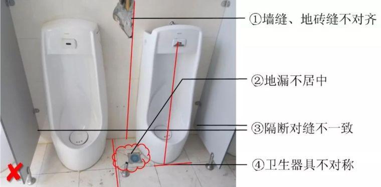 卫生间施工创优八字经:居中、对称、成线、一致