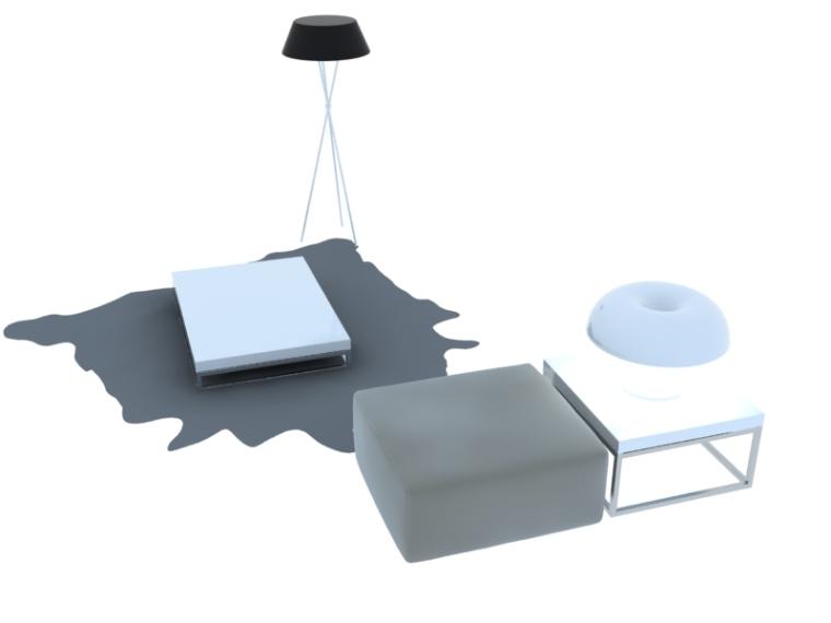 简约沙发茶几3D模型下载