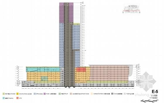[江苏]现代风格高层商业综合体设计方案文本(知名设计院)-现代风格高层商业综合体设计剖面图