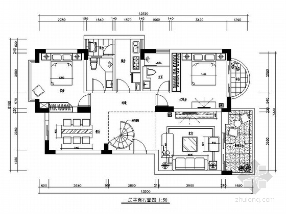 现代风格复式样板房CAD设计装修图(含效果)