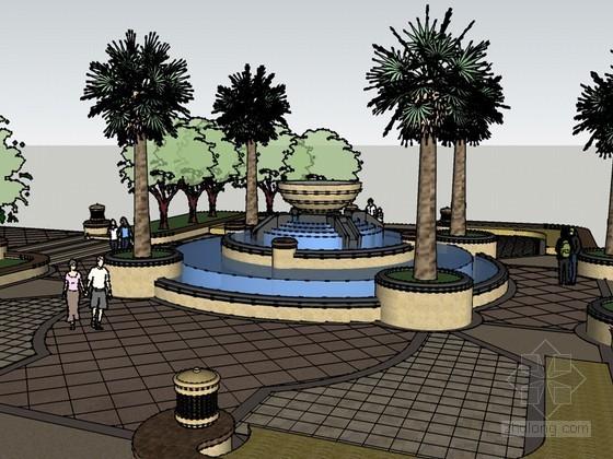 休闲小广场SketchUp模型下载