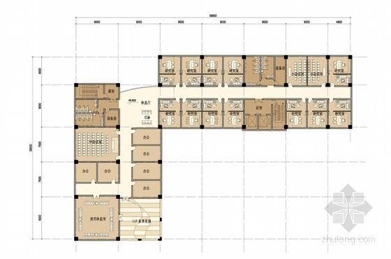 [上海]55米现代古典风格科研中心建筑设计方案文本(含CAD方案图)-55米现代古典风格科研中心建筑平面图