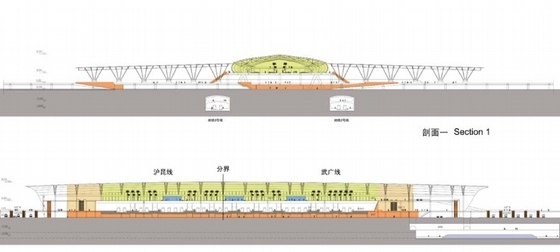 现代风格高铁站建筑设计剖面图
