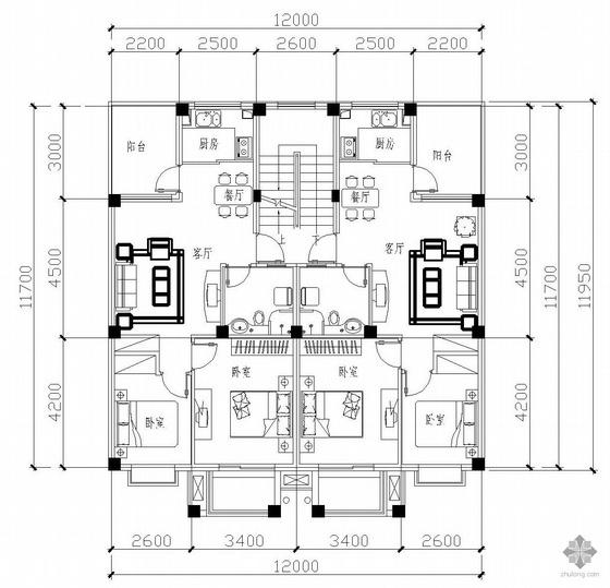 板式多层一梯二户二室一厅一卫户型图(71/71)